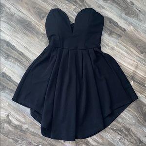 RARE LONDON - Black Sweetheart Cut Mini Dress